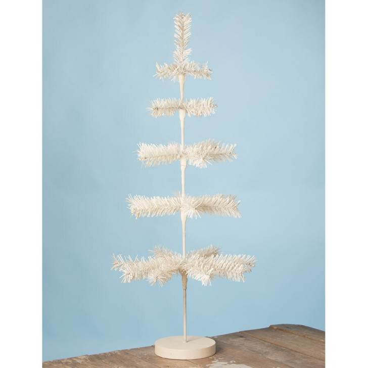 """Bethany Lowe 30"""" White Artificial Feather Easter Tree LC9573"""