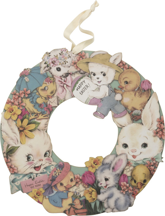 "Primitives By Kathy 14"" Wooden Easter Bunny Wreath 34805"