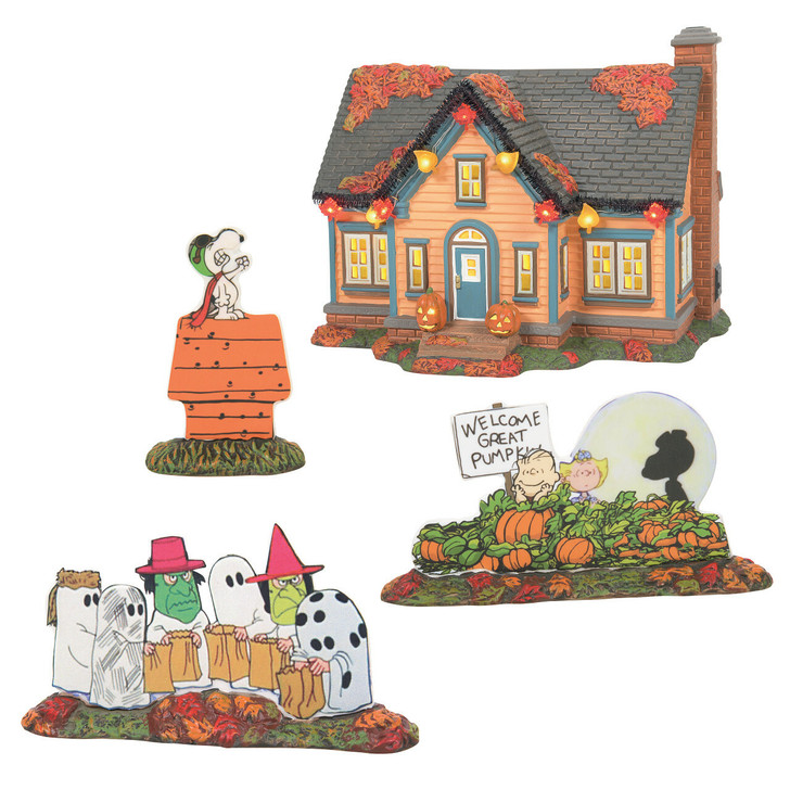Department 56 Peanuts Halloween Village Trick or Treat Lane Village Set 6007640