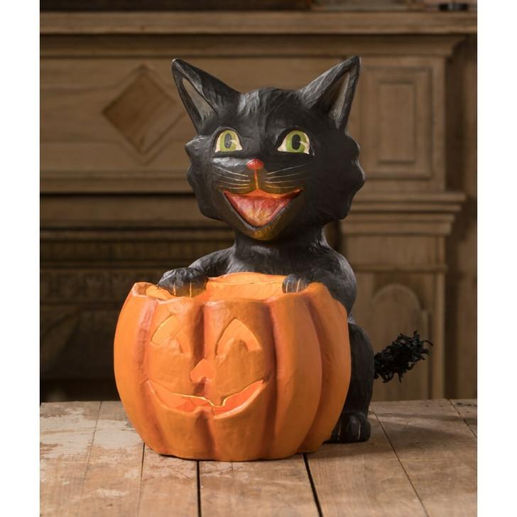 Bethany Lowe Cat's Got Your Pumpkin Lantern TJ0190