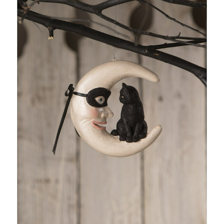 "Bethany Lowe 4.5"" Hallow's Eve Cat on Moon Halloween Ornament TD0051"