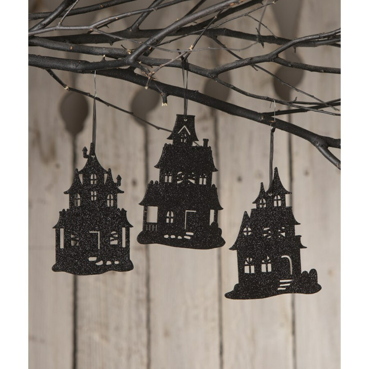 """Bethany Lowe 5.75"""" Set of 3 Haunted House Silhouette Halloween Ornament RL0840"""