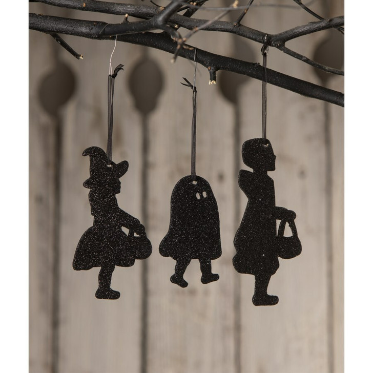 Bethany Lowe Set of 3 Trick or Treat Children Silhouette Halloween Ornament RL0841