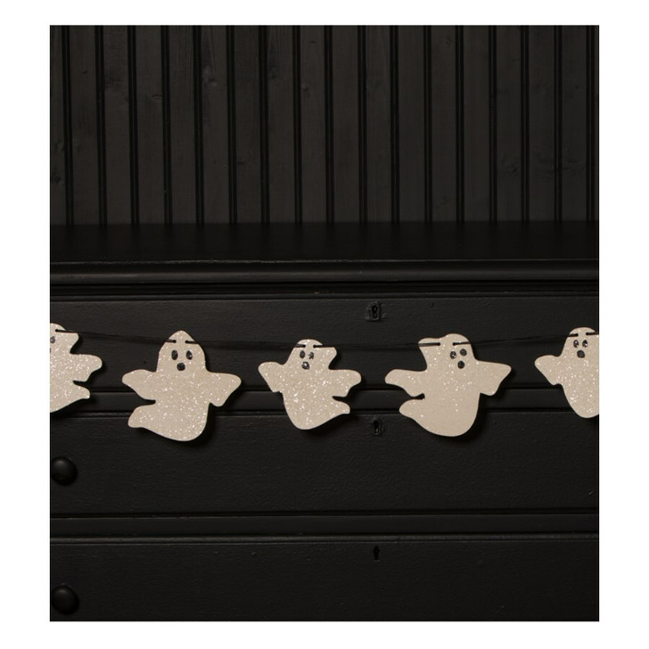 """Bethany Lowe 72"""" Wooden Ghost Garland Halloween Decoration RL0838"""
