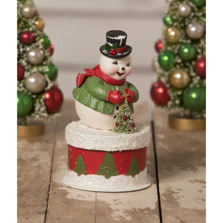 "Bethany Lowe 7.5"" Snowman Old Friend on Box Christmas Decoration TL0227"