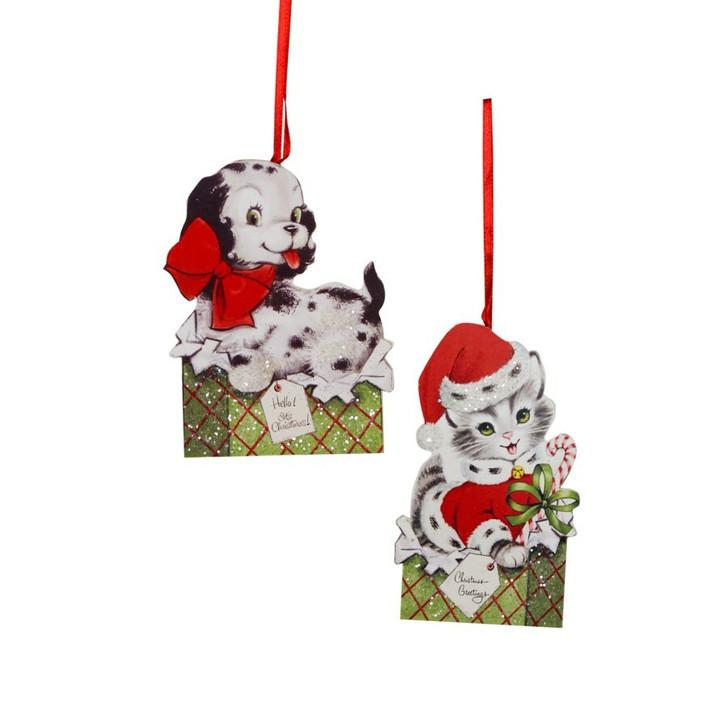 "Bethany Lowe 4.5"" Furry Friends Dummy Board Christmas Ornament RL0832"