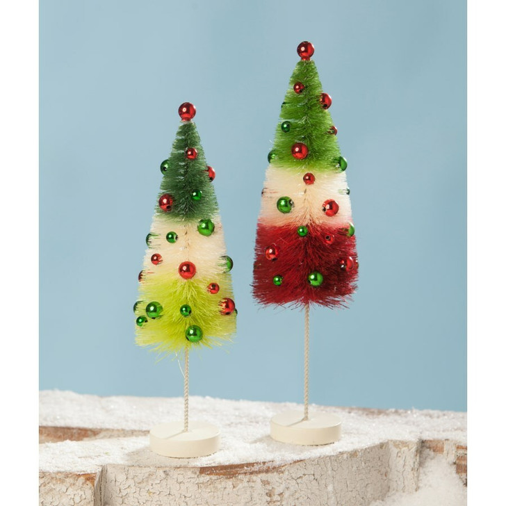 Bethany Lowe Jolly Tricolored Bottle Brush Trees Set of 2 LC8416