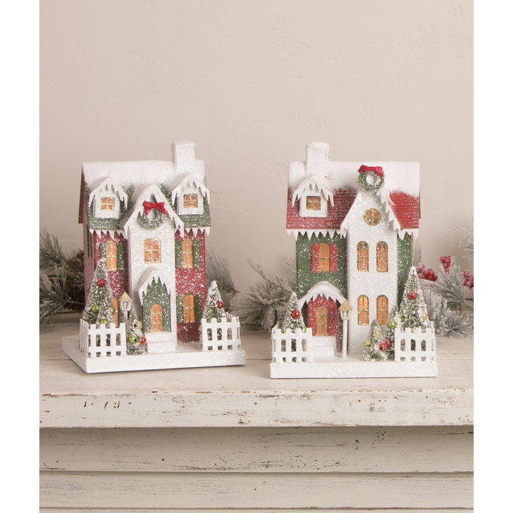 """Bethany Lowe 10.5"""" Traditional Tall Vintage Putz Christmas House LC0690"""