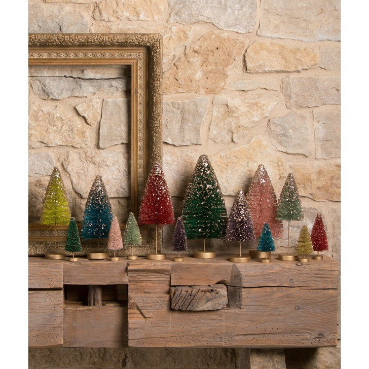 Bethany Lowe Set of 14 Mini Jewel-Tide Bottle Brush Trees