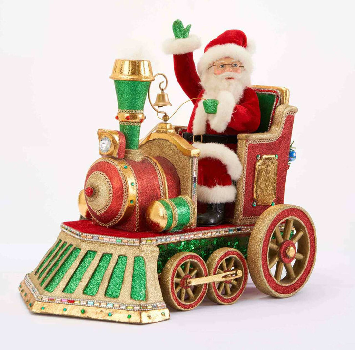 """Katherine's Collection 17"""" Toy Land Santa In Train Christmas Figure 28-028765"""