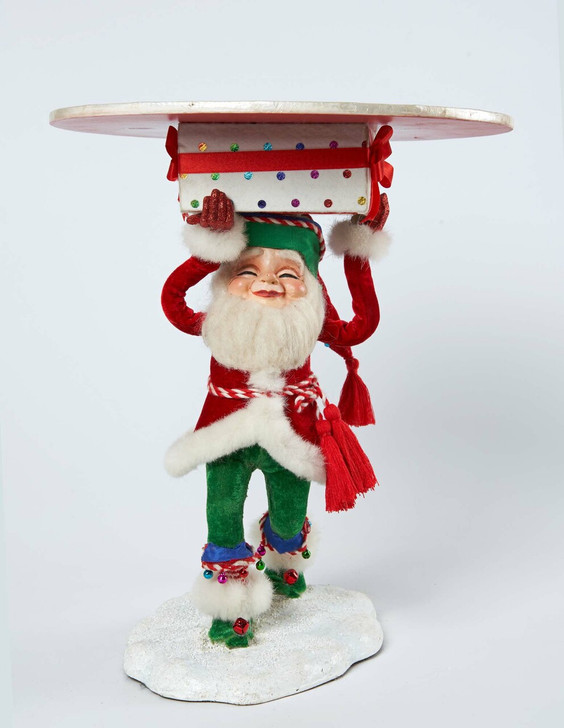 "Katherine's Collection 13.8"" Toy Land Short Santa Elf Holding Tray 28-028706"