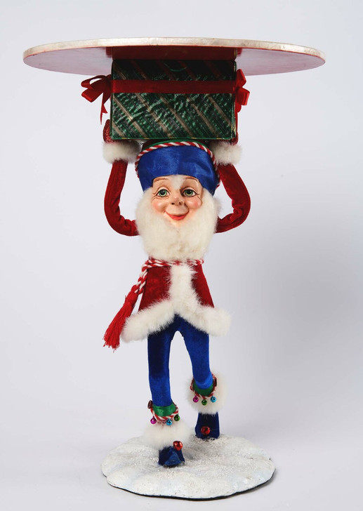 """Katherine's Collection 17"""" Toy Land Tall Santa Elf Holding Tray Christmas Decoration 28-028640"""