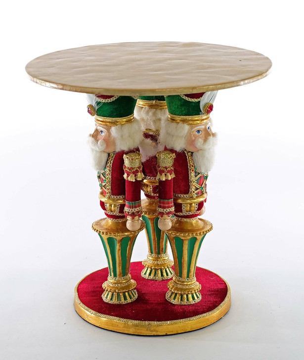 """Katherine's Collection 13"""" Yuletide Greetings Nutcracker Cake Stand 28-928616"""