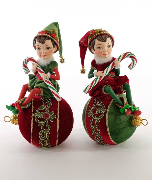 "Katherine's Collection 13"" Yuletide Greetings Elf On Ornament Table Top Christmas Decoration 28-928603"