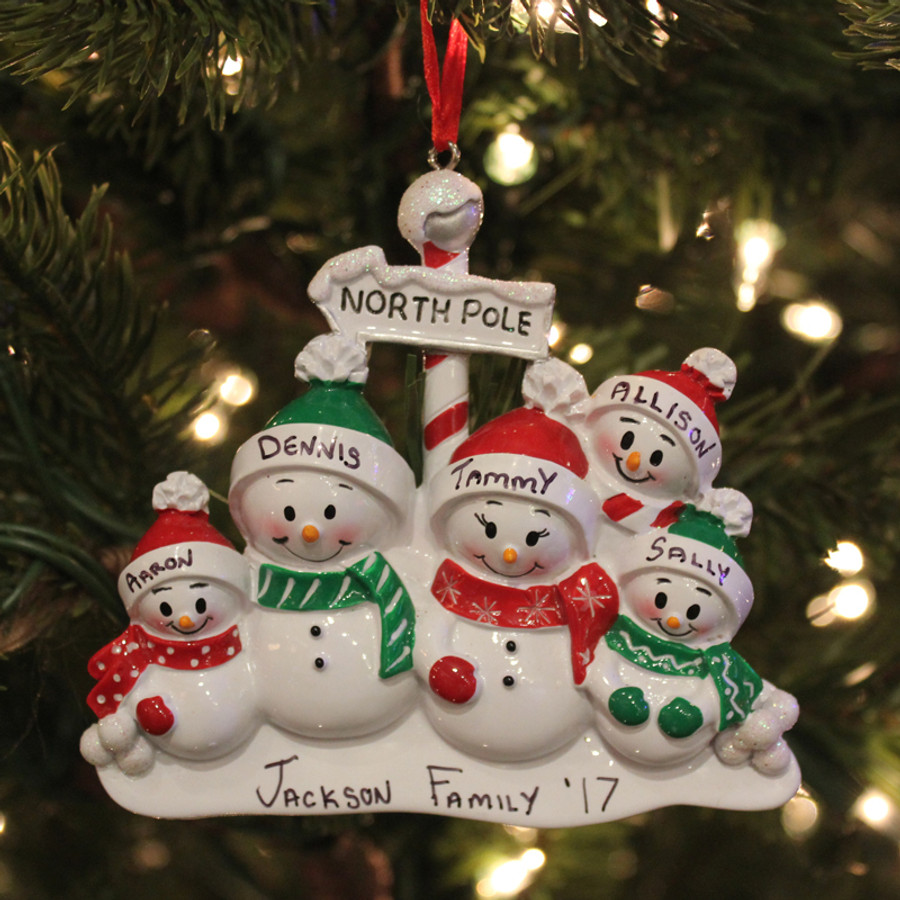 Personalized Family Ornament with 5 Snowmen OR967-5