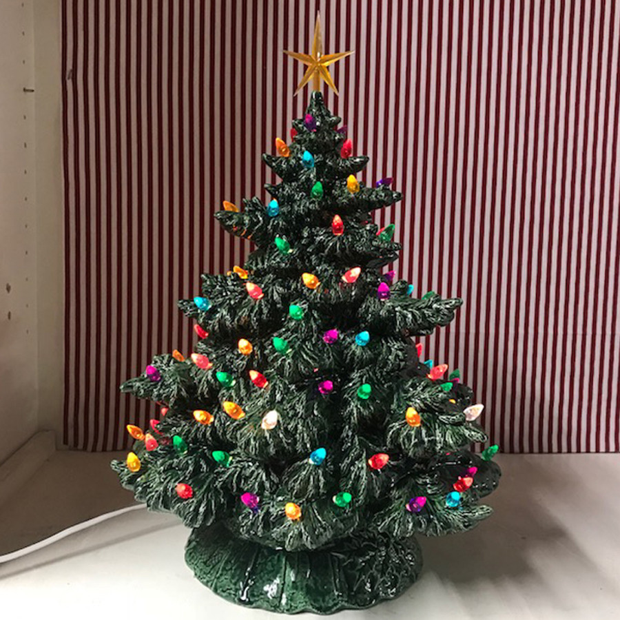 Sierra Lighted Green Ceramic Christmas Tree 16