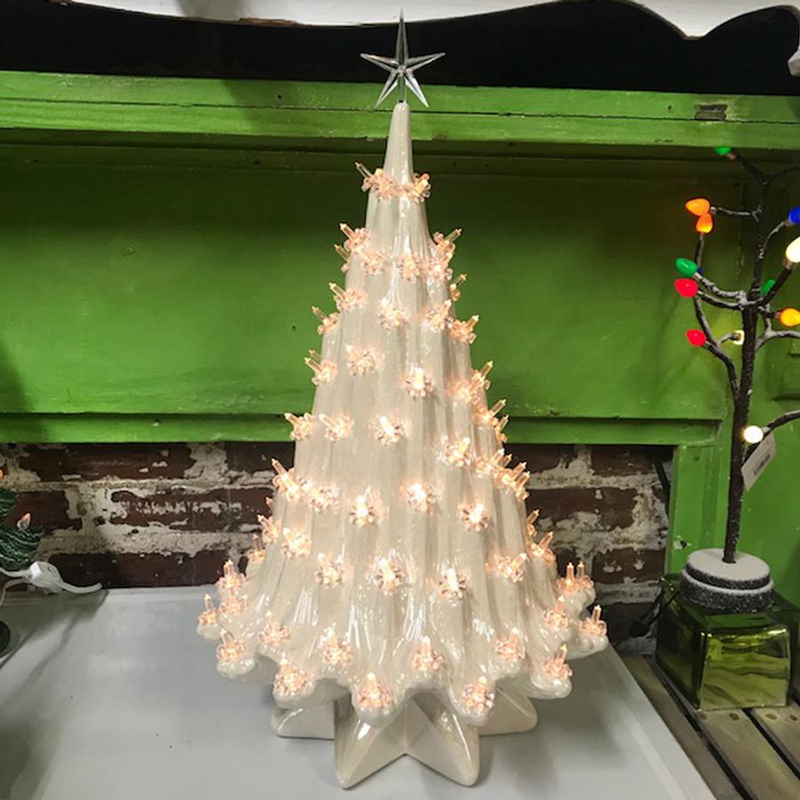 "Large Christmas Tree: Large Lighted White Ceramic Ice Christmas Tree 23"""
