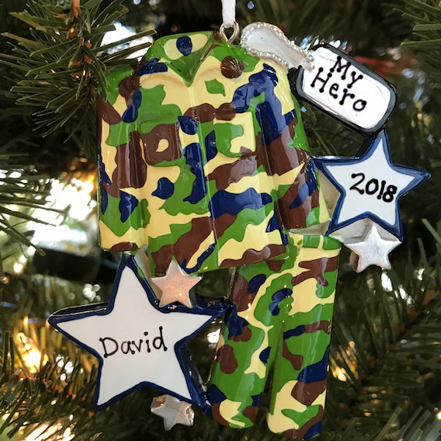 Armed Services Camo Army Uniform Personalized Christmas Ornament
