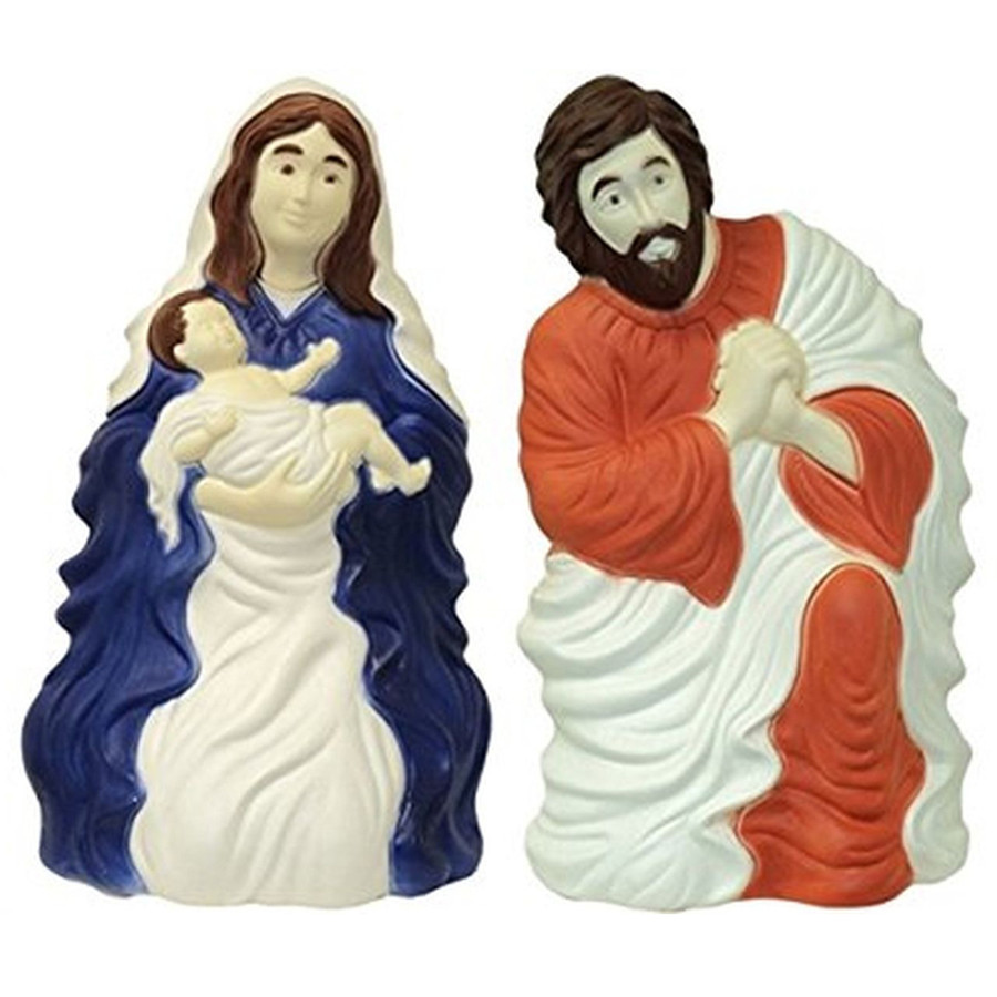 28 Set Of 2 Nativity Scene Blow Mold Outdoor Christmas Decor