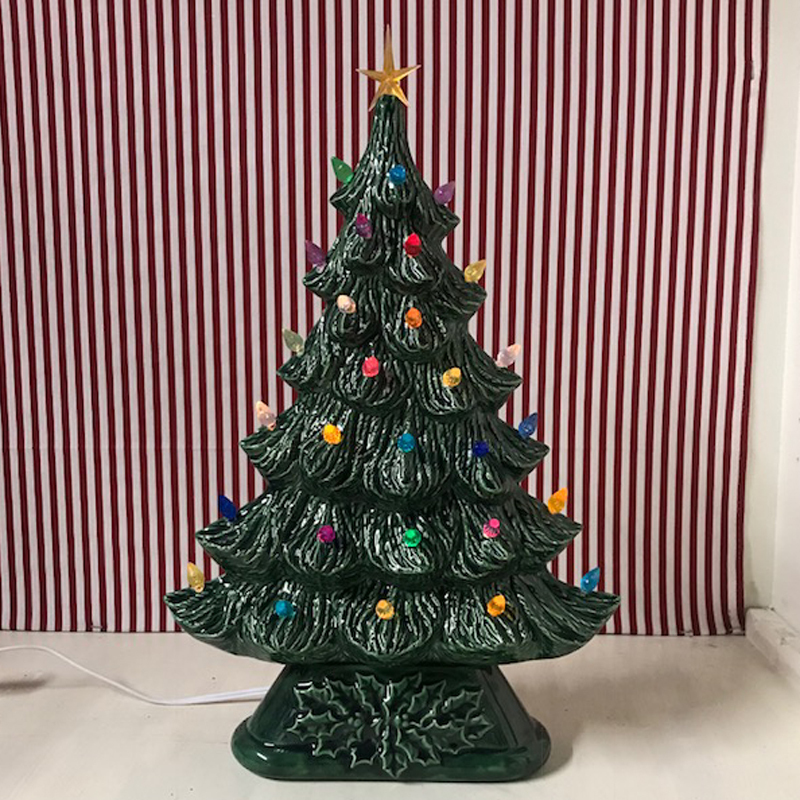 Large Flat Ceramic Lighted Window Or Mantel Christmas Tree 19