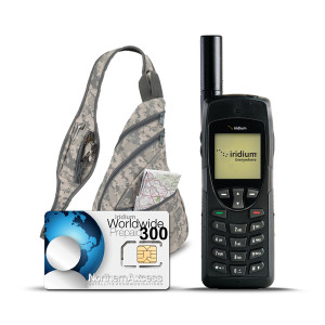 Iridium 9555 satellite phone with prepaid airtime and Backpack