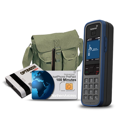 Isatphone Pro Satellite Phone with Airtime, Optimizer, and Carrying Bag