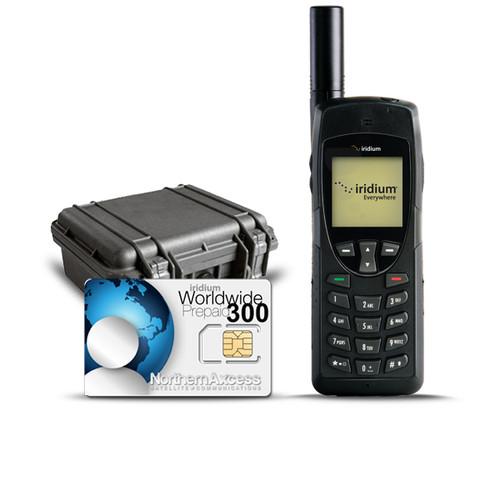 Iridium 9555 Satellite Phone Kit with pelican case and prepaid 300 minutes card