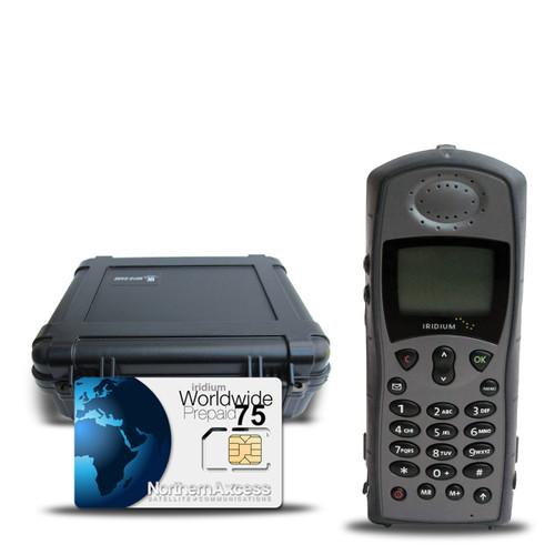 Refurbished Iridium 9505A Satellite Phone with 75 Prepaid Minutes and Hard Case
