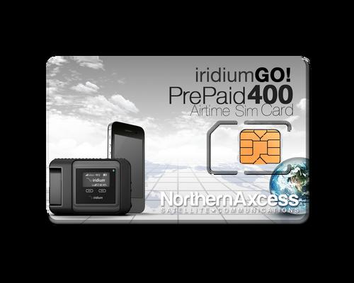 Iridium GO Prepaid 400 Data  Minutes or 200 voice min prepaid sim card