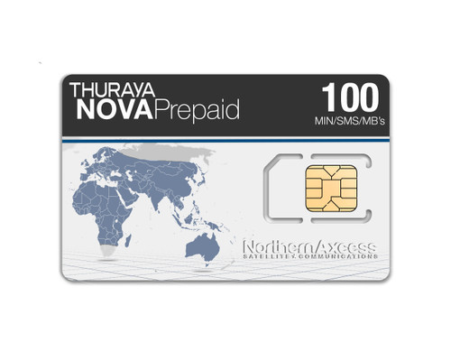 Thuraya NOVA Prepaid Airtime SIMCard with 100 minutes, 100 SMS, and 100 Megabytes at NorthernAxcess Satellite Communications