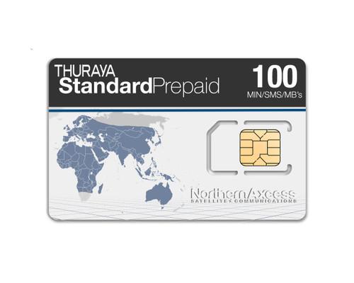 Thuraya Standard Prepaid Airtime SIM Card with 100 minutes, 100 SMS, & 100 Megabytes. This Thuraya Prepaid Card also lasts for 2 years