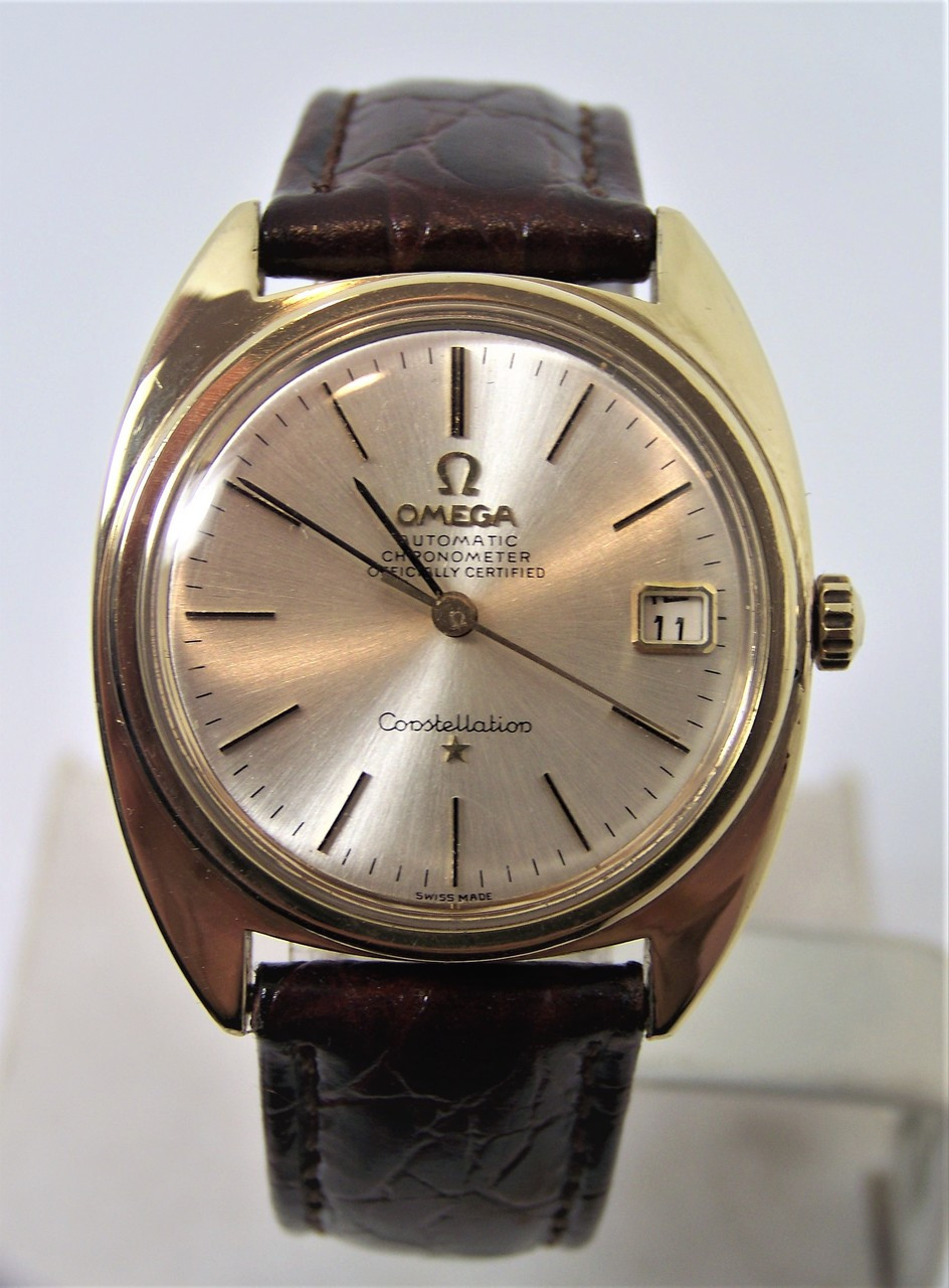Vintage 14k & SS OMEGA CONSTELLATION CHRONOMETER Automatic Watch 1960s Cal  564