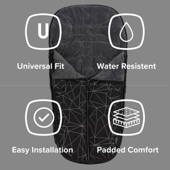 Diono Luxury All Weather Stroller Footmuff, Universal Fit from Baby to Toddler With Cozy Super Soft Padding, Weatherproof, Water Resistant Lining [Black Platinum]