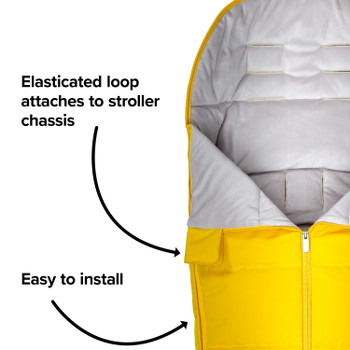 All Weather Stroller Footmuff, Universal Fit from Baby to Toddler With Cozy Super Soft Padding, Weatherproof, Water Resistant Lining [Yellow Sulphur]