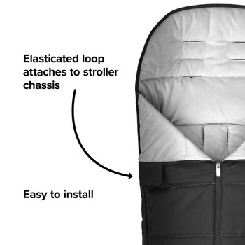All Weather Stroller Footmuff, Universal Fit from Baby to Toddler With Cozy Super Soft Padding, Weatherproof, Water Resistant Lining [Black Midnight]