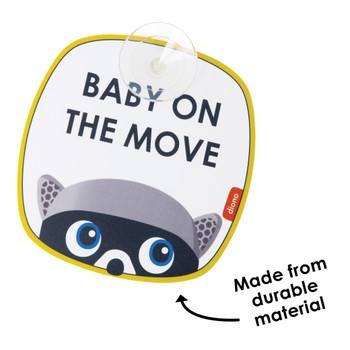 Diono Baby on the Move 2 Pack of Baby On Board Car Window Stickers with Suction Cups, Bright Yellow [Muti]