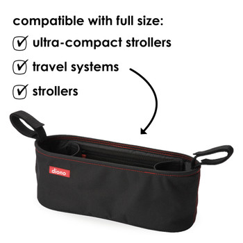 Diono Buggy Buddy® Universal Stroller Organizer With Cup Holders, Secure Attachment, Zippered Pockets, Safe & Secure [Black]