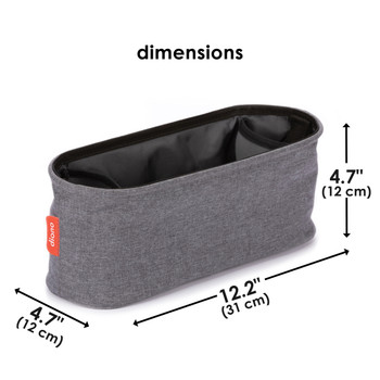 Diono Buggy Buddy® Universal Stroller Organizer With Cup Holders, Secure Attachment, Zippered Pockets, Safe & Secure [Gray]