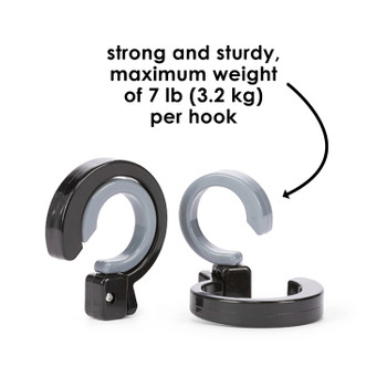 DIono Buggy Hook for Stroller - 2 Pack of Stroller Hooks, Durable and Convenient 360 Swivel Stroller Clips, Hang Diaper Bag to Stroller [Black Gray]