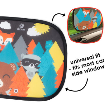 Kids Character Car Window Shade 2 Pack - Cling Sunshade for Car Windows, Baby Side Window Car Sun Shades for Blocking Sun Glare, UV Rays [Muti]