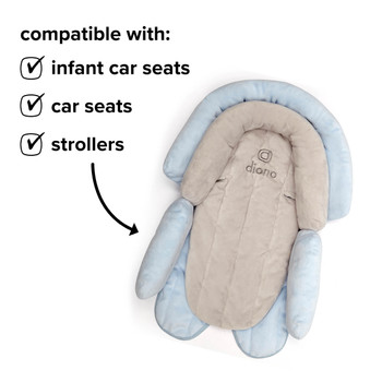 Diono Cuddle Soft 2-in-1 Baby Head Neck Body Support Pillow For Newborn Baby Super Soft Car Seat Insert Cushion, Perfect for Infant Car Seats, Convertible Car Seats, Strollers [Gray/Blue]
