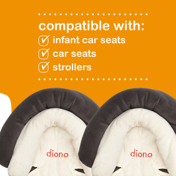 Diono Cuddle Soft® Pack of 2 Baby Head Neck Body Support Pillows For Newborn Baby Super Soft Car Seat Insert Cushion, Perfect for Infant Car Seats, Convertible Car Seats, Strollers [Gray]