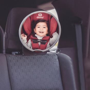 Diono Baby Car Mirror 2 Pack, Includes Easy View Safety Car Seat Mirror for Rear facing Infant & See Me Too Rear View Baby Mirror both Fully Adjustable With Wide Crystal Clear View, Shatterproof, Crash Tested [Silver]