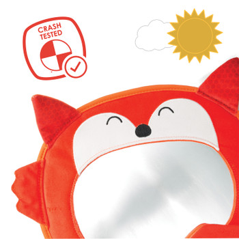 Diono Easy View® Fox Character Baby Car Mirror, Safety Car Seat Mirror for Rear facing Infant, Fully Adjustable, Wide Crystal Clear View, Shatterproof, Crash Tested, Orange [Fox]