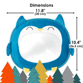 Diono Easy View® Owl Character Baby Car Mirror, Safety Car Seat Mirror for Rear facing Infant, Fully Adjustable, Wide Crystal Clear View, Shatterproof, Crash Tested, Teal [Owl]