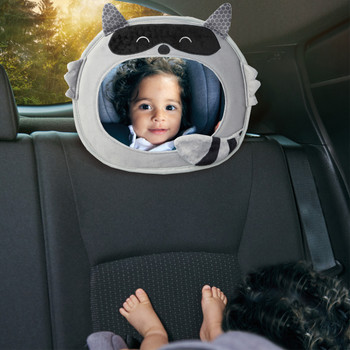 Diono Easy View® Racoon Character Baby Car Mirror, Safety Car Seat Mirror for Rear facing Infant, Fully Adjustable, Wide Crystal Clear View, Shatterproof, Crash Tested, Gray [Raccoon]