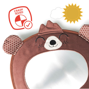 Diono Easy View® Bear Character Baby Car Mirror, Safety Car Seat Mirror for Rear facing Infant, Fully Adjustable, Wide Crystal Clear View, Shatterproof, Crash Tested, Brown [Bear]