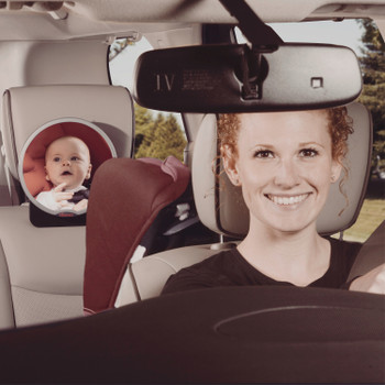 Diono Easy View® Baby Car Mirror, Safety Car Seat Mirror for Rear facing Infant, Fully Adjustable With 360° Rotation, Wide Crystal Clear View, Shatterproof, Crash Tested [Silver]