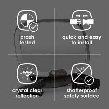 Diono Easy View® Plus Baby Car Mirror with Light, Safety Car Seat Mirror for Rear facing Infant with 360° Rotation, LED Night Light, Wide Crystal Clear View, Shatterproof, Crash Tested [Silver]