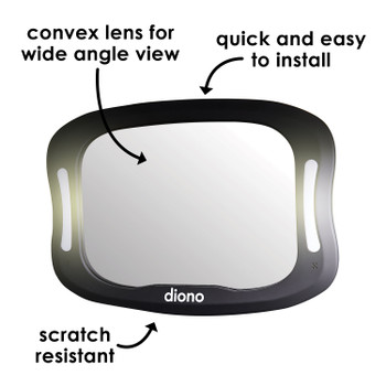 Diono Easy View® XXL Baby Car Mirror with Extra Wide View, Safety Car Seat Mirror for Rear facing Infant with 360° Rotation, LED Night Light, Wide Crystal Clear View, Shatterproof, Crash Tested [Black]